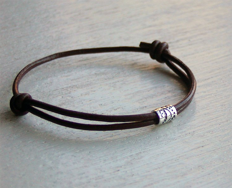 Sterling Silver Tube Bead Bracelet on Genuine Leather Cord (2 styles and 11 colors)