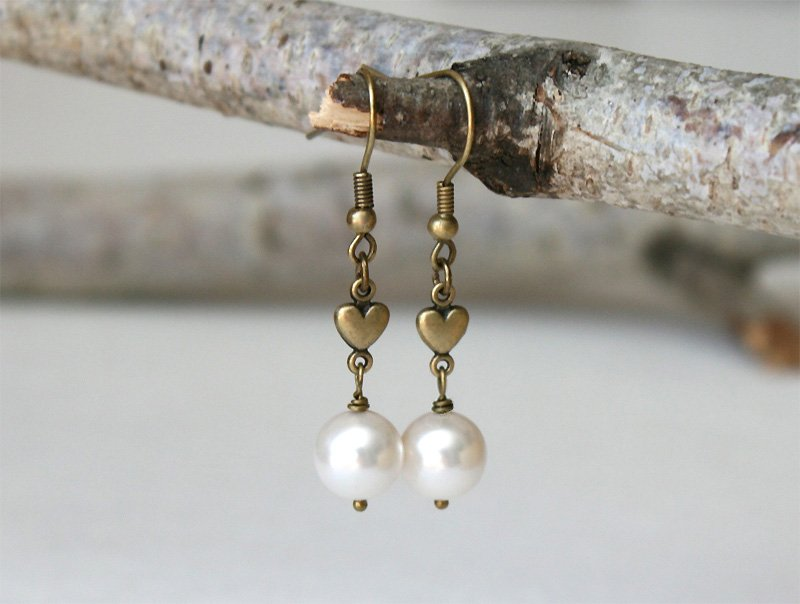 Pearl Earrings with Heart Charm