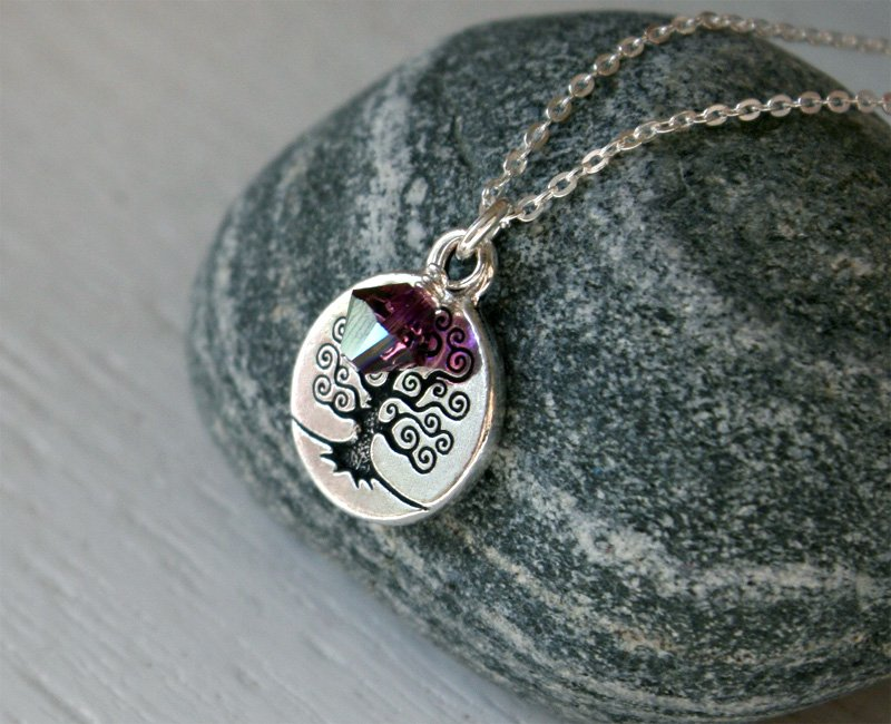 Tree of Life Necklace � Tree Necklace with Swarovski Bead on Sterling Silver Chain