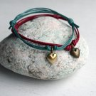 Heart Bracelet with Waxed Cotton Thread (many colors to choose)