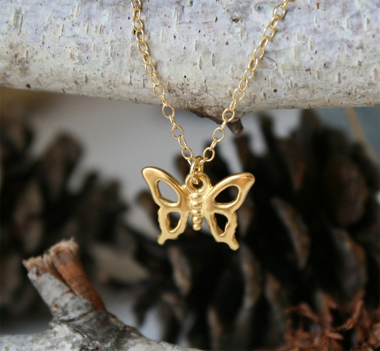 Butterfly Necklace on 16K Gold Chain (on Sale)