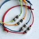 Double Heart Bracelet - Heart Initial Bracelet – Smiley Face Bracelet (many colors)