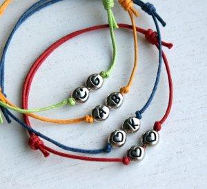 Double Heart Bracelet - Heart Initial Bracelet � Smiley Face Bracelet (many colors)