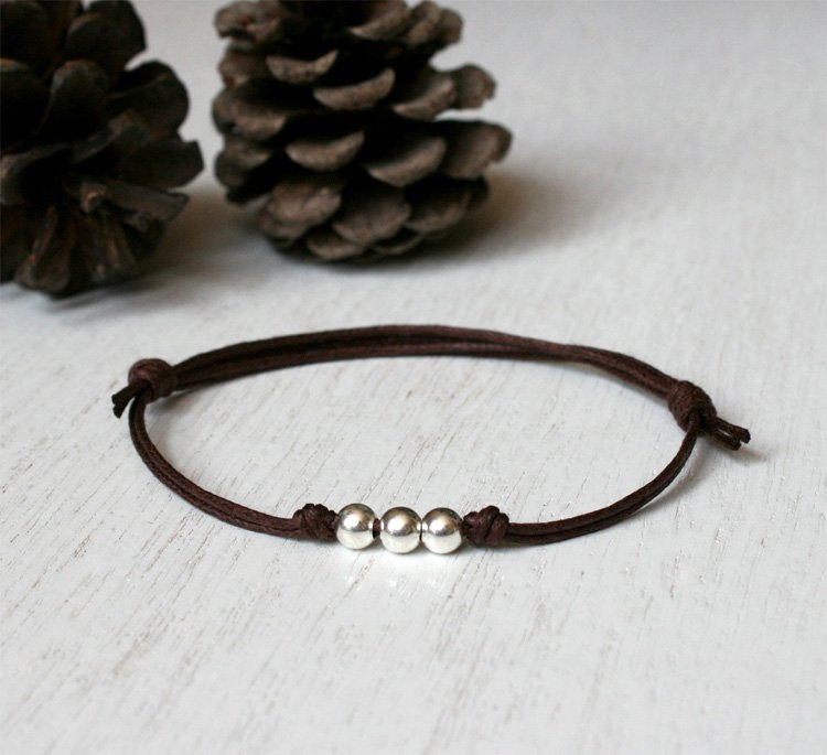 3 Sterling Silver Round Beads Bracelet (many color to choose)