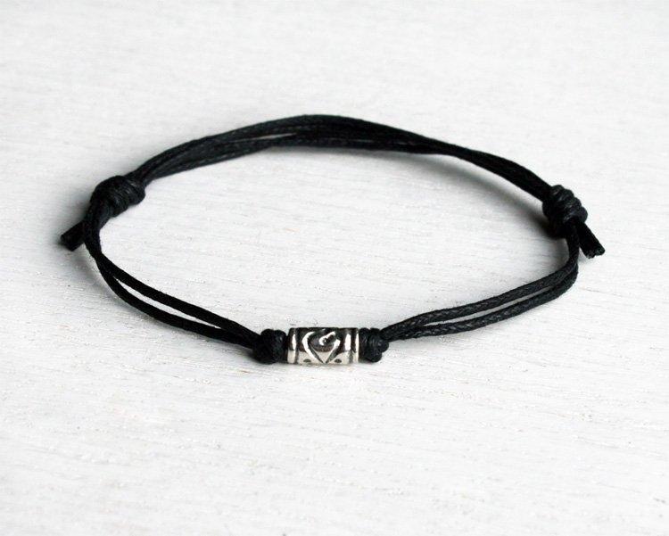 Sterling Silver Cylinder Heart Bead Bracelet Anklet (many colors)