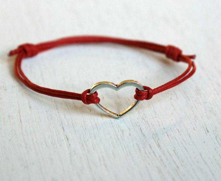 Open Heart Bracelet with Cotton Thread (many colors to choose)