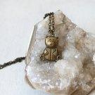 Antique Brass Little Bear Necklace