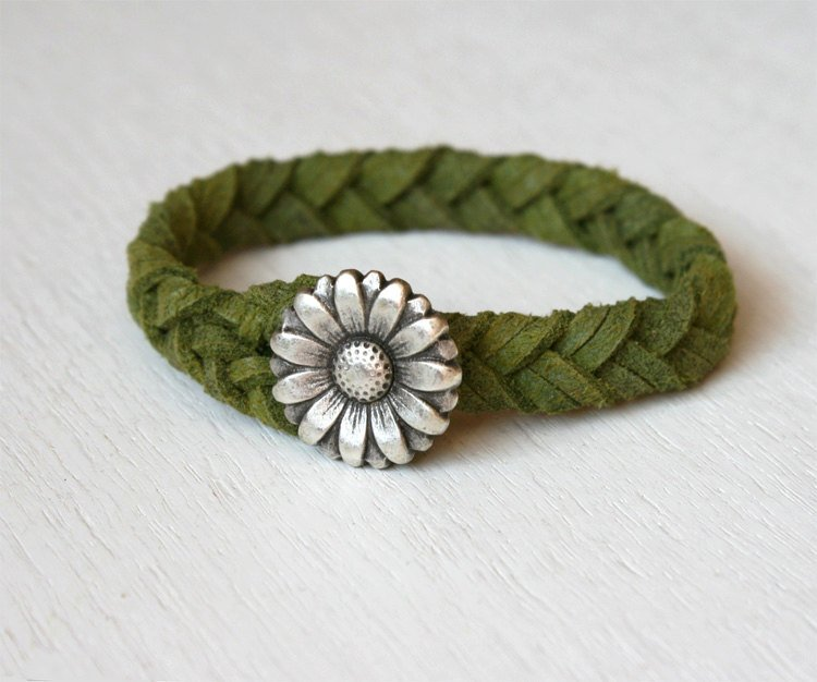 Flower Bracelet on Braided Suede Cord (13 colors to choose)