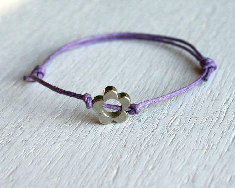 Flower Bracelet or Flower Anklet - Single Flower Bead (many colors)