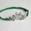 Flower Branch Bracelet (Antique Silver or Gold) (many cord colors to choose)