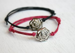 Rose Bracelet (3 charm colors and many cord colors to choose)