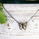 Antique Brass Hollow Butterfly Necklace