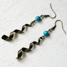 Turquoise bead with Spiral Pendant Earrings