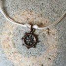 Antique Copper Sailing Wheel Bracelet / Sailing Wheel Anklet (many colors to choose)