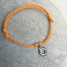 Sun Bracelet/ Sun Anklet (gold or silver charm and many cord colors to choose)