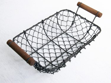 Rust Steel Rectangle Wire Basket, Chicken Wire Basket