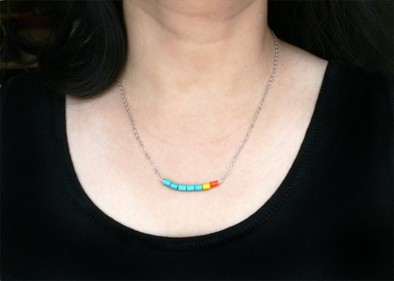 Turquoise Beads Necklace (many bead colors to choose)