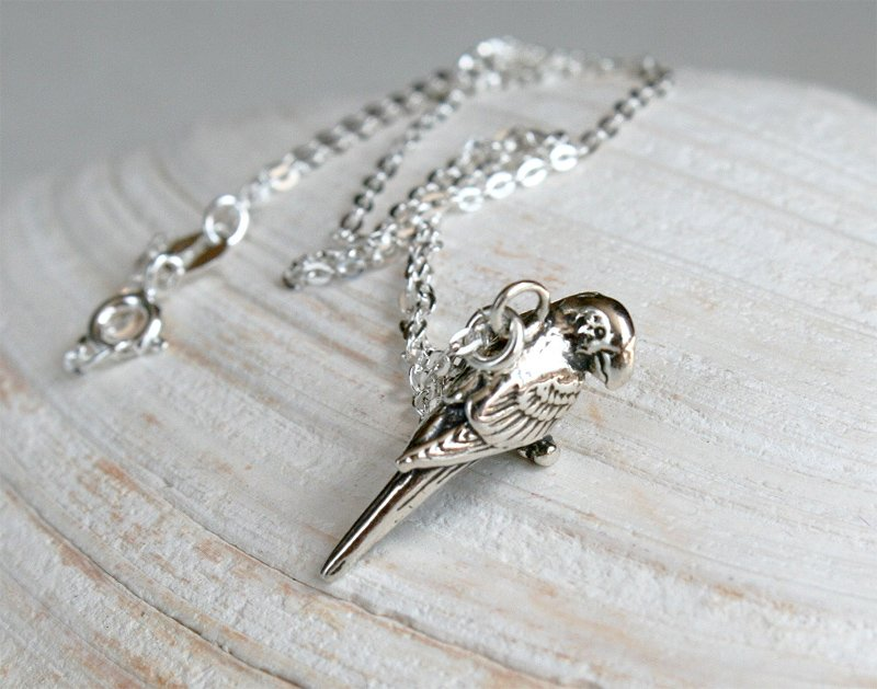 Sterling Silver Parrot Necklace / Macaw Necklace