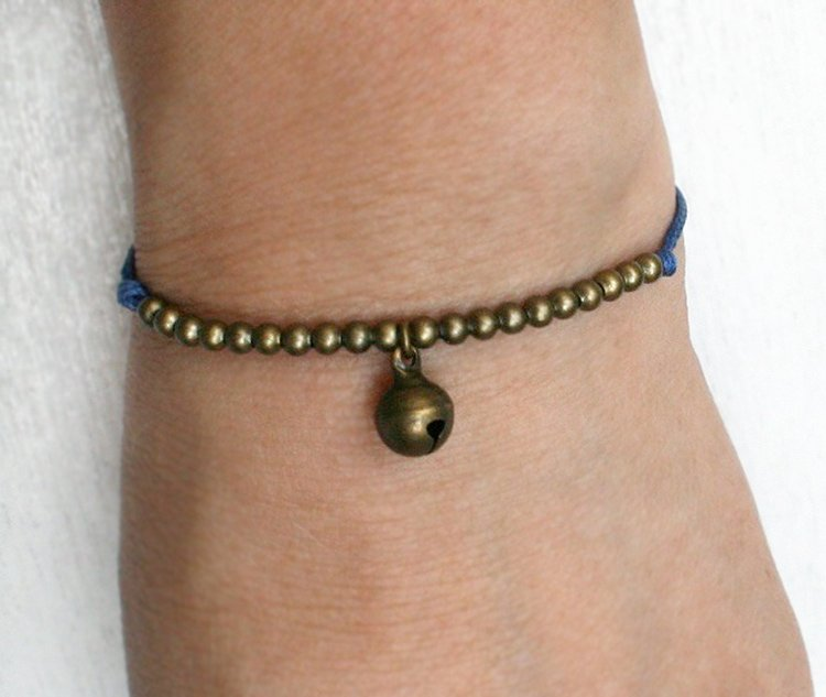 Jingle Bell Bracelet with beads / Jingle Bell Anklet (many colors to choose)