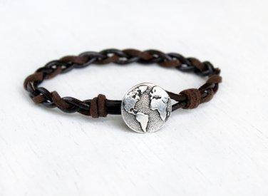 Globe Bracelet with Braided Leather Cord, World Map Bracelet, Earth Bracelet (3 cord colors)