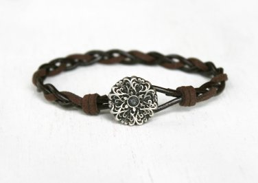Floral Bracelet with Braided Leather Cord, Floral Pattern Bracelet, Flower Bracelet (3 cord colors)