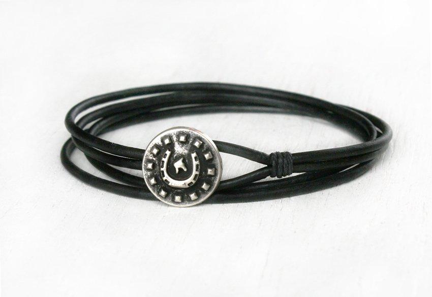 Double Wrap Leather Bracelet, Horseshoe Leather Bracelet (many colors to choose)