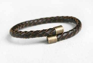 Braided Leather Bangle Bracelet, Braided Leather Bracelet (many color to choose)