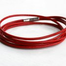 double wrap leather bracelet with triple leather cords Red