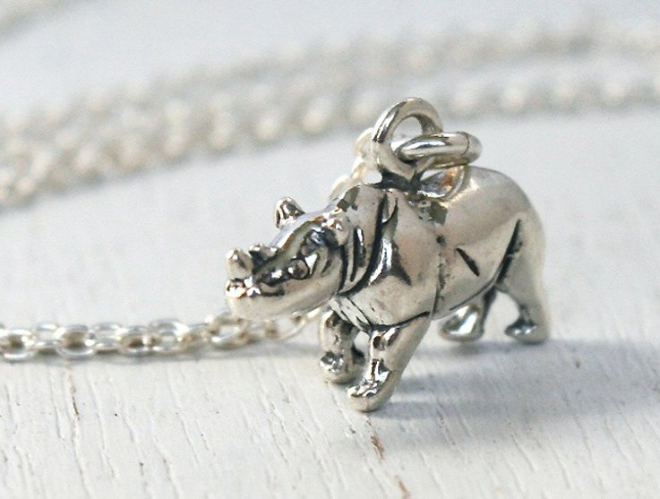 Sterling Silver Rhino Necklace