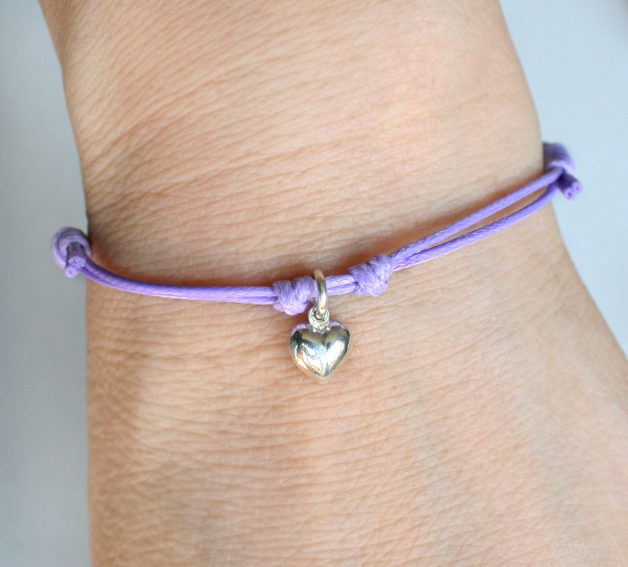 Sterling Silver Heart Charm Bracelet or Heart Anklet (many colors)