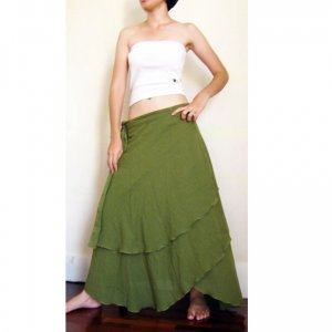 Hippie Gypsy Green Cotton Two Layers Biased Circle Long Wrap Skirt S-L (H)