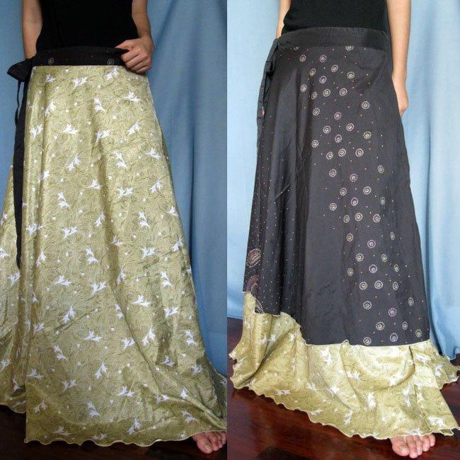 Classic Silk Sari Reversible long Wrap Skirt Dress Top Bohemian Boho Size S M L(K31)