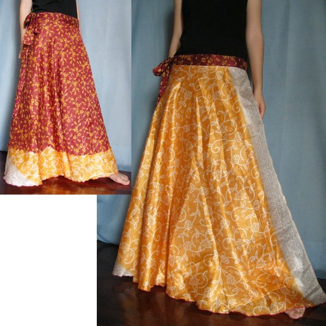 India Nepal Classic Silk Sari Reversible long Wrap Skirt Dress Top Bohemian Boho Size S M L(K52)