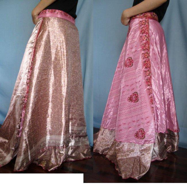 India Nepal Classic Silk Sari Reversible long Wrap Skirt Dress Top Bohemian Boho Size S M L(K49)