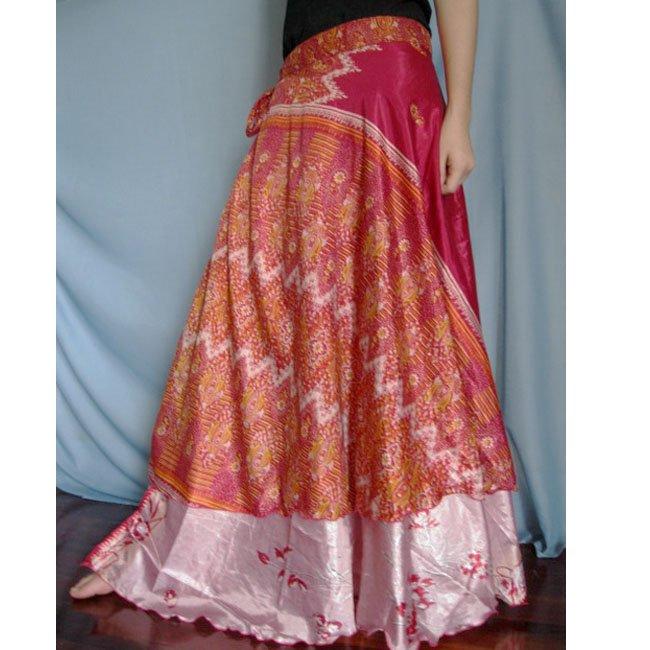 India Nepal Classic Silk Sari Reversible long Wrap Skirt Dress Top Bohemian Boho Size S M L(K47)