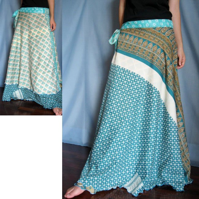 India Nepal Classic Silk Sari Reversible  long Wrap Skirt Dress Top Bohemian Boho Size S M L(K39)