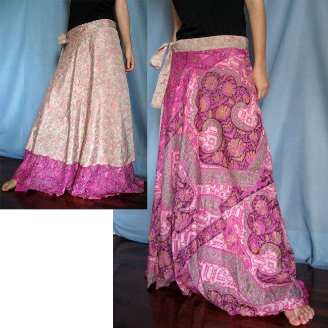 India Nepal Classic Silk Sari Reversible  long Wrap Skirt Dress Top Bohemian Boho Size S M L(K36)