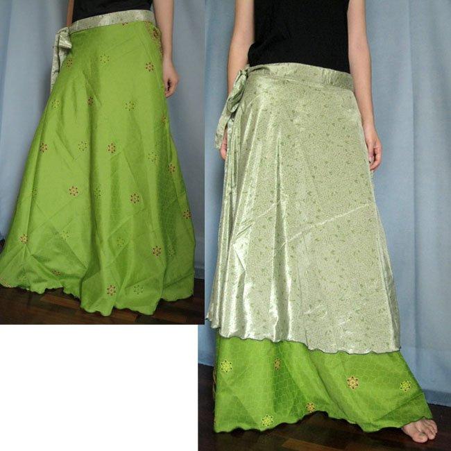 India Nepal Classic Silk Sari Reversible long Wrap Skirt Dress Top Bohemian Boho Size S M L(K22)