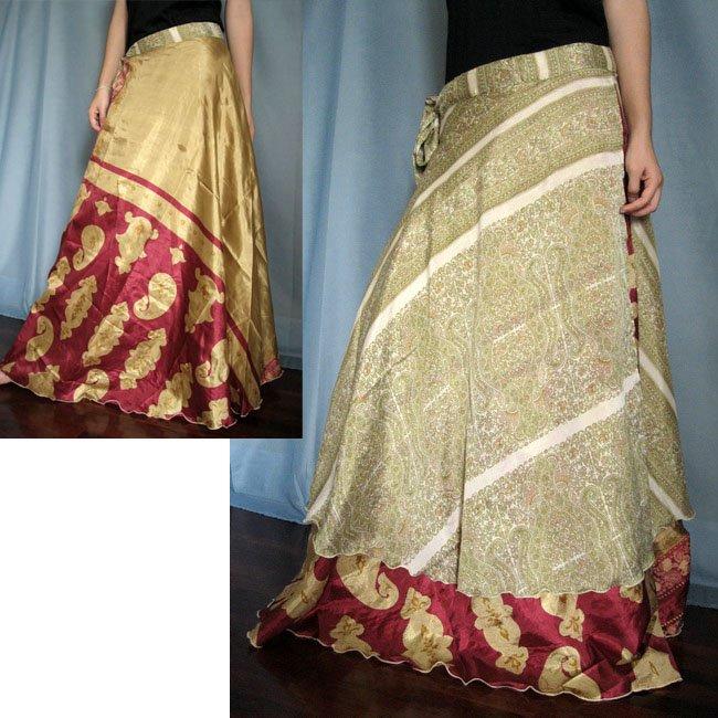 India Nepal Classic Silk Sari Reversible long Wrap Skirt Dress Top Bohemian Boho Size S M L(K20)