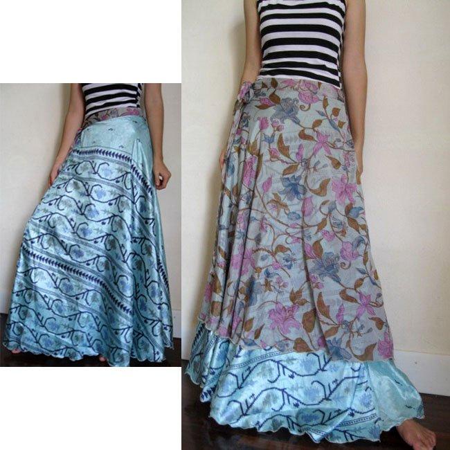 India Nepal Classic Silk Sari Reversible long Wrap Skirt Dress Top Bohemian Boho Size S M L(K33)