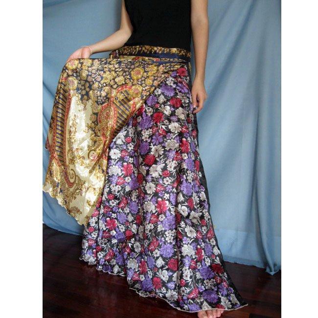 India Nepal Classic Silk Sari Reversible long Wrap Skirt Dress Top Bohemian Boho Size S M L(K30)