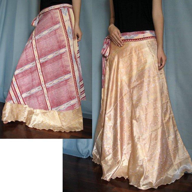 India Nepal Classic Silk Sari Reversible long Wrap Skirt Dress Top Bohemian Boho Size S M L(K27)