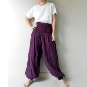 Boho Hippie Gypsy Purple Cotton Long Yoga Pants- Casual Pants- Aladdin Pants (AP 8)