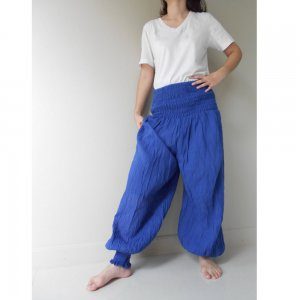 Boho Hippie Gypsy Blue Cotton Smock Waist Long Aladdin Pants S-L (AP 10)