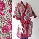 Short Maroon Floral Thai batik Cotton kimono bridesmaid robe R67
