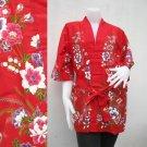 Red Flower Kimono Thai Batik Floral Short Bridesmaid Bath Robe S - L (R51)