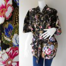 Short white floral on black batik  short kimono Robe R66
