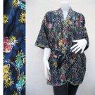 Pink Yellow Blue Thai Batik Short Bridesmaid Kimono Robe (R56)