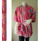 Pink Floral Kimono Crossover Thai Batik Cotton Bridesmaid Wedding Bath Robe (R 62)