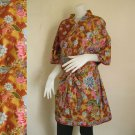 Classic with Mixed Flowers Brown Thai Batik Wedding Short Kimono Bath Robe S - L (R61)